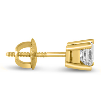 1 3/4ct Princess Diamond Stud Earrings In 14k Yellow Gold, G/H, SI