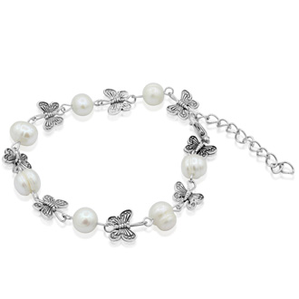 Butterfly and Pearl Necklace and Bracelet Set.  Pretty Freshwater Cultured Pearls!   The Necklace is 18 inches with  2 inch extender, and the Bracelet is 7 inches with a 1.5 inch extender