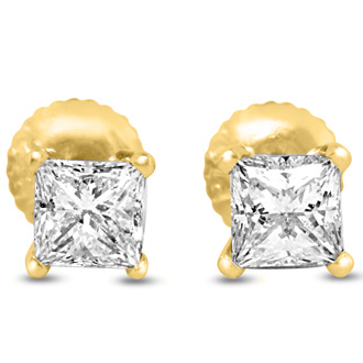 1 3/4ct Fine Quality Princess Diamond Stud Earrings In 14k Yellow Gold