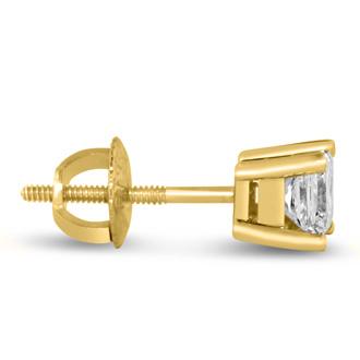 1 3/4ct Fine Quality Princess Diamond Stud Earrings In 14k Yellow Gold