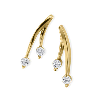 1/4ct Diamond Olive Branch Earrings, 14k Yellow Gold
