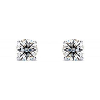 1/4ct VS Round Diamond Stud Earrings In 14k White Gold