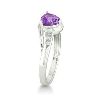 3/4ct Trillion Amethyst and Diamond Ring