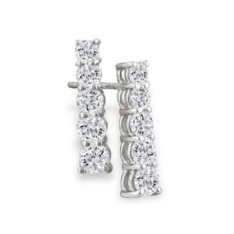 1/2ct Classic Diamond Line Earrings in 14k White Gold