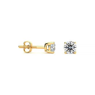 1/4ct Round Diamond Stud Earrings In 14k Yellow Gold, G/H, VS/SI