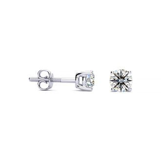 1/3ct Round Diamond Stud Earrings in 18k White Gold, VS Clarity