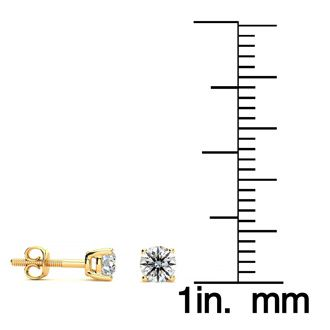 1/3ct Round Diamond Stud Earrings In 14k Yellow Gold, VS Clarity