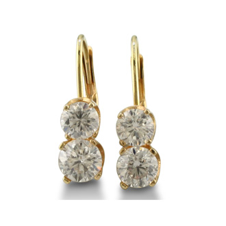 1ct 2 Diamond Leverback Earrings, 14k Yellow Gold