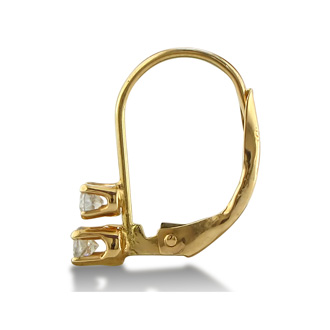 1/4ct 2 Diamond Leverback Earrings, 14k Yellow Gold