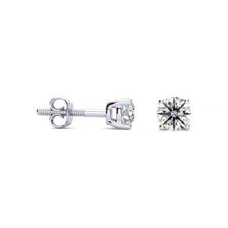 1/2ct VS Round Diamond Stud Earrings In 14k White Gold