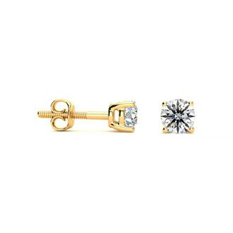 1/2ct VS Round Diamond Stud Earrings In 14k Yellow Gold