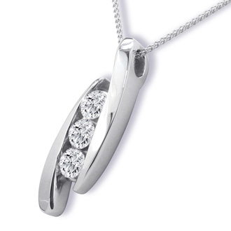 1/3ct Three Diamond Pendant, 14k White Gold