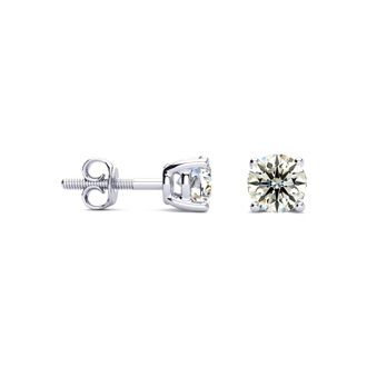 3/4ct VS Round Diamond Stud Earrings In 18k White Gold