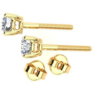 3/4 Carat Round Diamond Stud Earrings In 14 Karat Yellow Gold