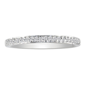1/10ct Micro Pave Womens Wedding Diamond Band in 14k White Gold