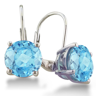5ct Blue Topaz Drop Earrings
