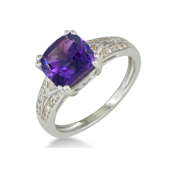 2 3/4ct Amethyst and Diamond Ring in Sterling Silver