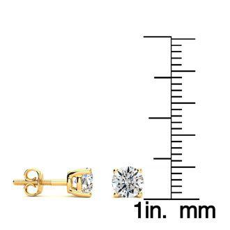 1 Carat Round Diamond Stud Earrings In 14 Karat Yellow Gold