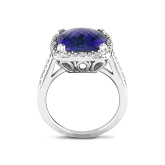 4ct Amethyst and Diamond Ring, Sterling Silver