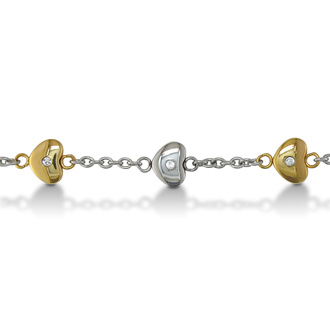 8 Inch Women's Stainless Steel and Gold Heart Chain Bracelet