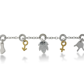 8 Inch Hippy Chic Women's Stainless Steel and Gold Chain Bracelet
