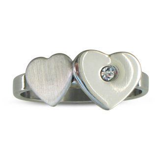 Cute Ladies Stainless Steel and CZ Heart Ring
