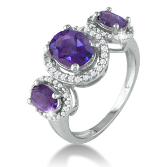 Large Over 2ct Amethyst and Diamond Ring in Sterling Silver