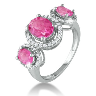 Large Over 2ct Pink Topaz and Diamond Ring in Sterling Silver