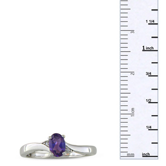 1/2ct Amethyst and Diamond Ring in Sterling Silver