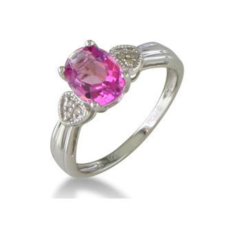 3/4ct Pink Topaz and  Diamond Ring in Sterling Silver