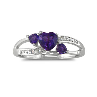 7/8ct Triple Heart Shaped Amethyst and Diamond Ring in Silver