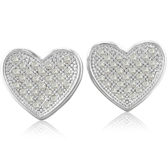 1/3ct Pave Set Diamond Heart Earrings in Sterling Silver