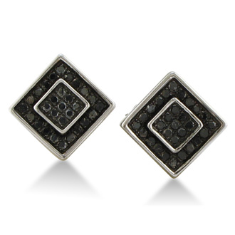 1/4ct Black Diamond Square Stud Earrings in Sterling Silver