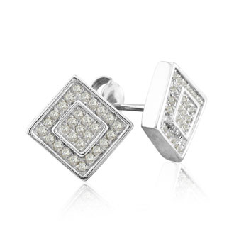 1/4ct Square in Square Diamond Earrings in Sterling Silver