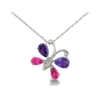1.5ct Diamond, Amethyst and Pink Topaz Butterfly Pendant in Silver