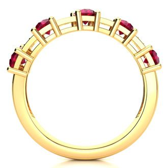 1 1/3 Carat Ruby and Diamond Journey Band Ring in 10K Yellow Gold