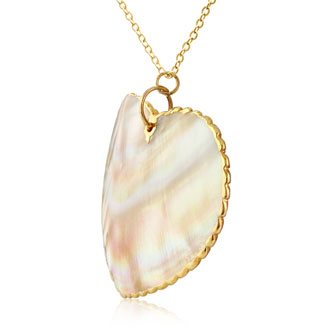 Mother Of Pearl Heart Shaped Pendant with 24k Yellow Gold Overlay