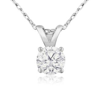 1/3ct 14k White Gold Diamond Pendant, J/K color, I1/I2 Clarity,
