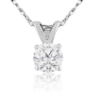 3/8ct 14k White Gold Diamond Pendant J/K Color I1/I2 Clarity.