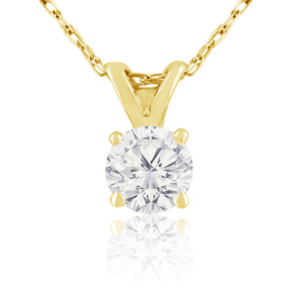 3/8ct 14k Yellow Gold Diamond Pendant, 2 Stars