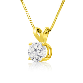 2/3ct 14k Yellow Gold Diamond Pendant, 2 Stars