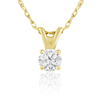 1/6ct 14k Yellow Gold Diamond Pendant
