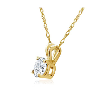 1/5ct 14k Yellow Gold Diamond Pendant, 3 stars