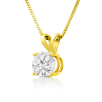 3/4ct 14k Yellow Gold Diamond Pendant