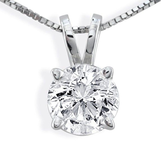 .85ct 14k White Gold Diamond Pendant, 3 stars