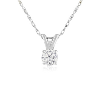 1/5ct 14k White Gold Diamond Pendant, 4 stars