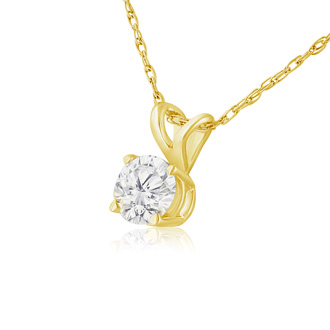1/3ct 14k Yellow Gold Diamond Pendant, 4 stars