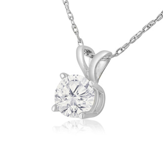 3/8ct 14k White Gold Diamond Pendant, 4 stars