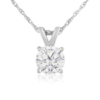 2/3ct 14k White Gold Diamond Pendant, 4 stars