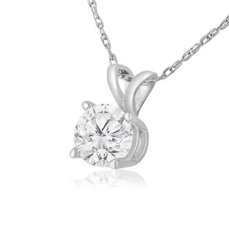 2/3ct 14k White Gold Diamond Pendant, 4 stars
